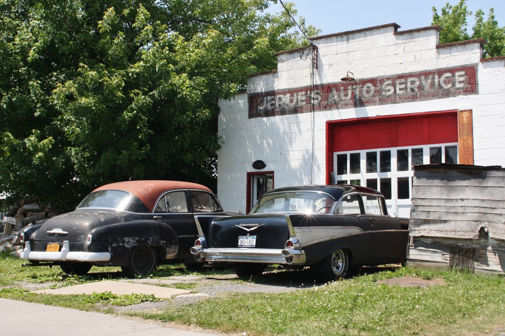 Circa-1952 and 1957 Chevrolet, Ogdensburg, New York.
