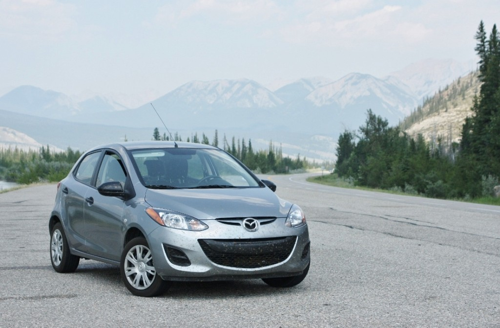 The Mazda 2 beams with joy after reaching the Rockies...all by itself!