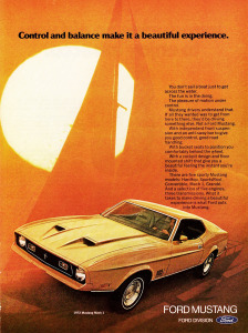 Sailing... in your new Mach 1. This '72 ad looks like it should come with a Carly Simon record.