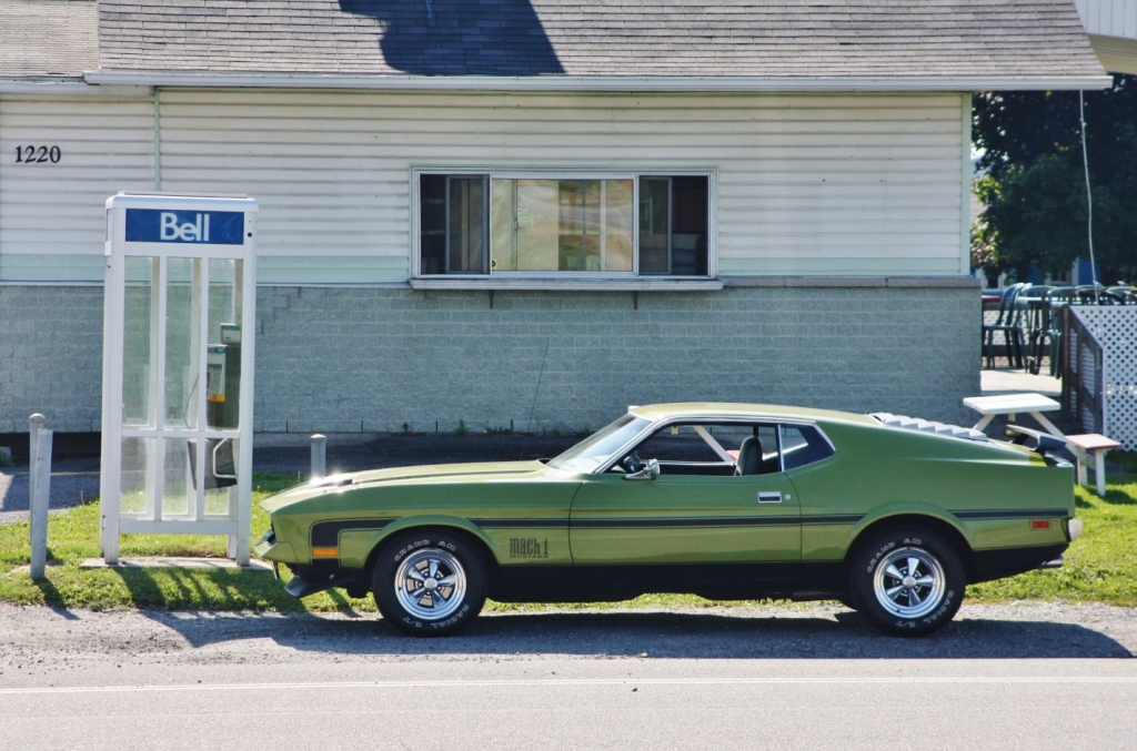 Call me, please: 1971-72 Ford Mustang Mach 1, spotted in L' Ange-Gardien, Quebec.