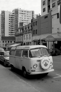 Patriotic people-mover: a pre-1972 Volkswagen Microbus resting in Kingston, Ontario.