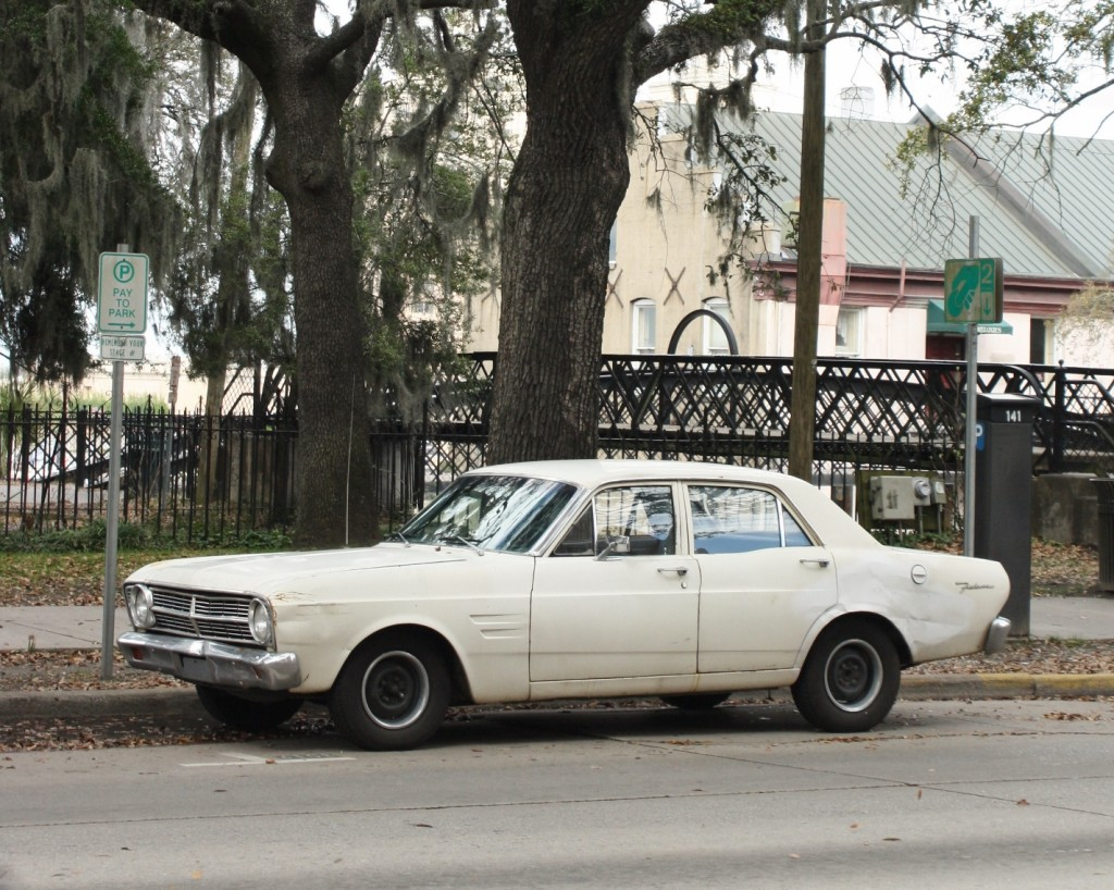 1967 Ford Falcon, spotted in Savannah, Georgia. 1960s beaters are nonexistent in Canada, but live on in the Deep South.