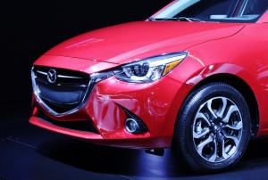 The front end of the 2016 Mazda 2 shows off its new KODO design language.