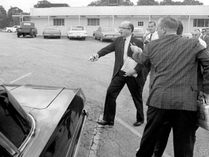 Future Georgia governor Lester Maddox, seen here chasing black restaurant patrons with a gun, 1964.