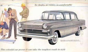 1960 Envoy ad. Notice the lack of colour on the car they call 'colourful'.