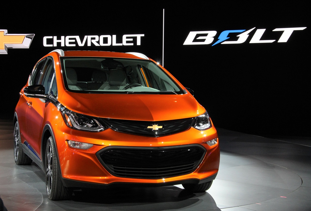 The 2017 Chevy Bolt after its Detroit semi-introduction on Jan. 11.
